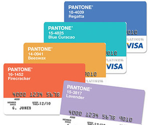 Colorful Credit. Pantone Visa Cards.