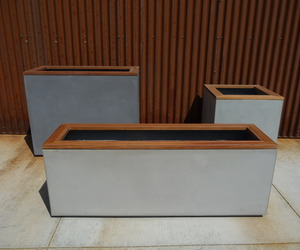 Concrete and Ipe Planters