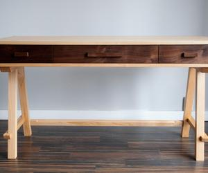 Contemporary desk of maple and walnut