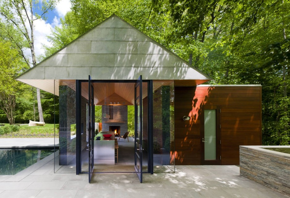 Contemporary pool garden pavilion by robert m gurney