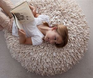 Contemporary Re-Cycled T-Shirt Pouf and Pillow