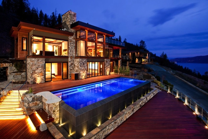 Contemporary style lake house in kelowna canada for Pool design kelowna