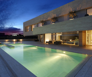 Contemporary Travertine House by A-Cero Architecture