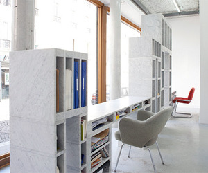 Contemporary Work Desk and Storage Unit of Solid Marble
