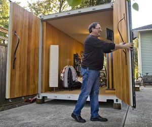Corvi Container Cabana in a Backyard
