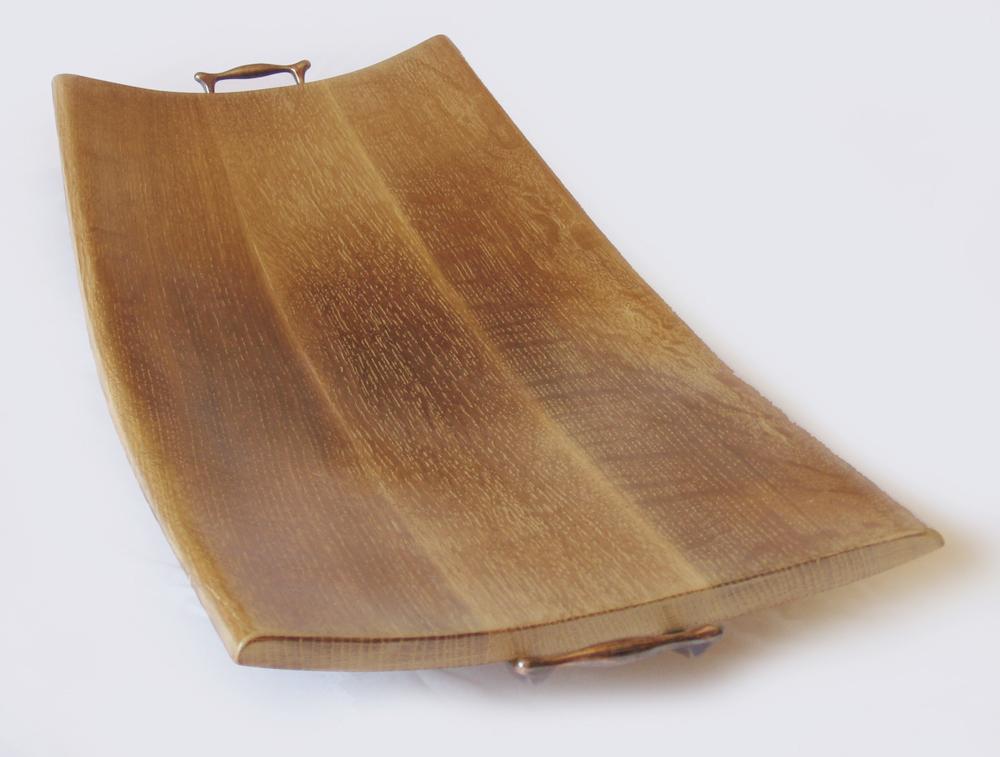 Cream Caramel Tray Recycled Oak Wine Barrel Staves