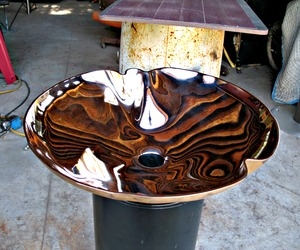Crenelated Silicon Bronze Sink, with mirror polish
