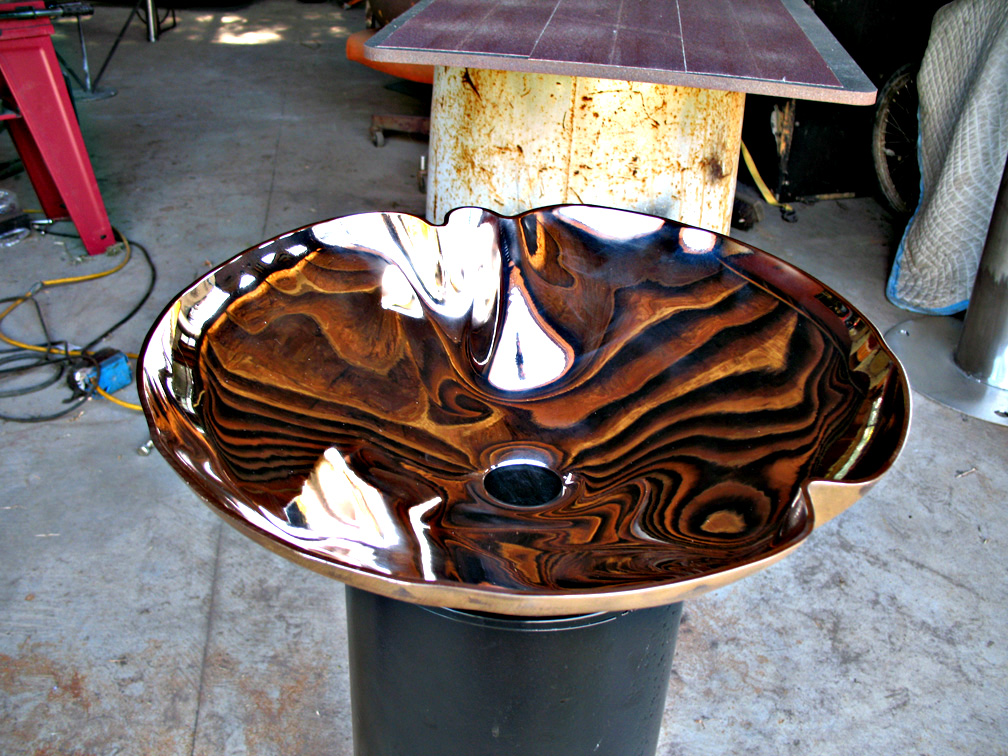 Crenelated Silicon Bronze Sink With Mirror Polish