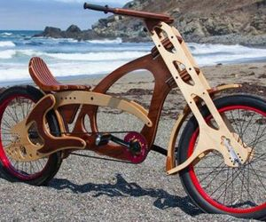 Custom Built Wooden Bicycle Created from Salvaged Trees