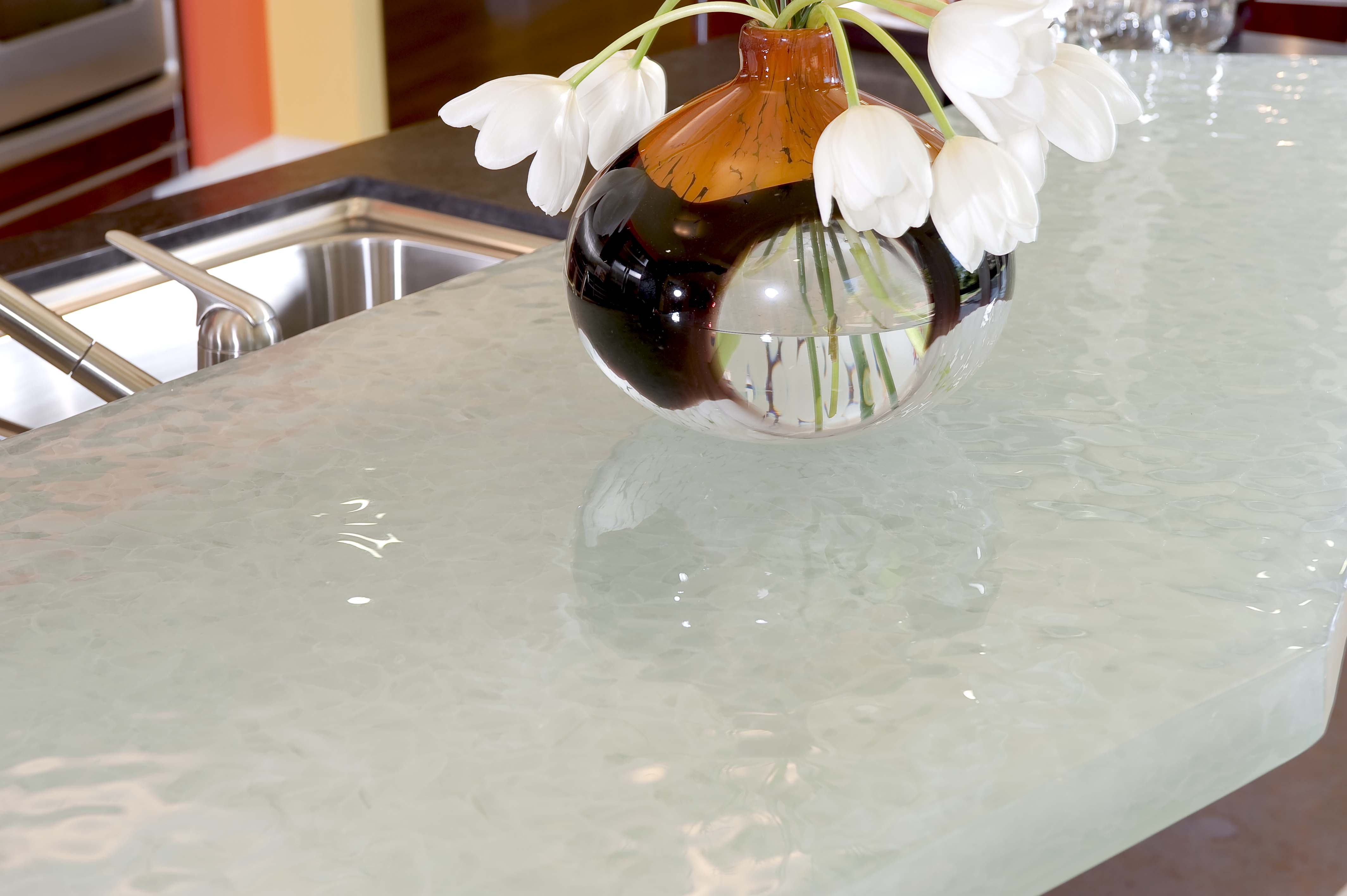 Custom crushed glass counter by danenberg design for Crushed glass countertops