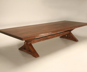 Custom Monumental 12 Foot Solid Oak Farm Table With Leaves