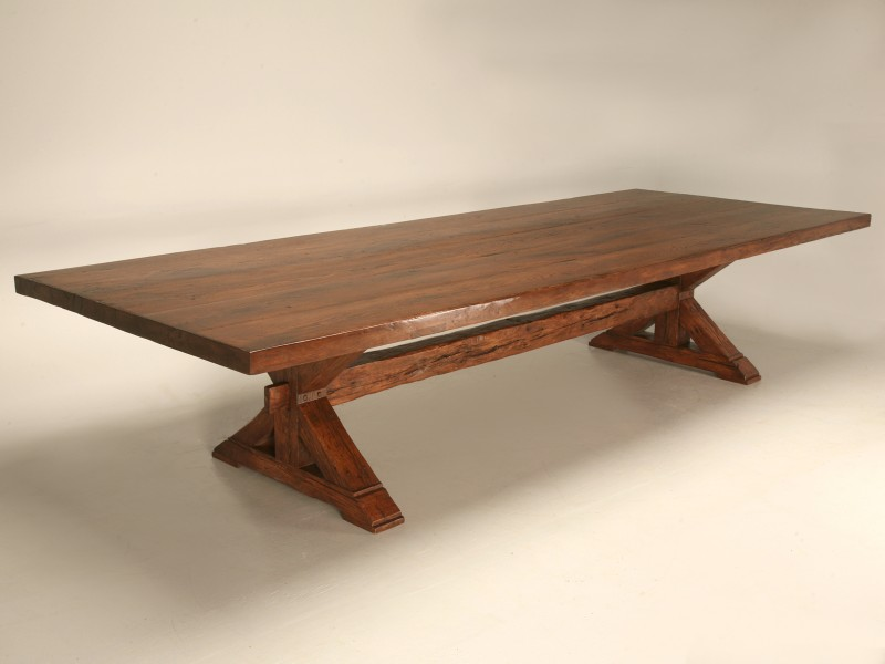 Custom monumental 12 foot solid oak farm table with leaves for 12 foot table
