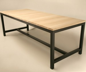 Custom Steel & Solid White Oak Dining, Console