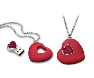 Cute Heart Pendant With Hidden USB Drive