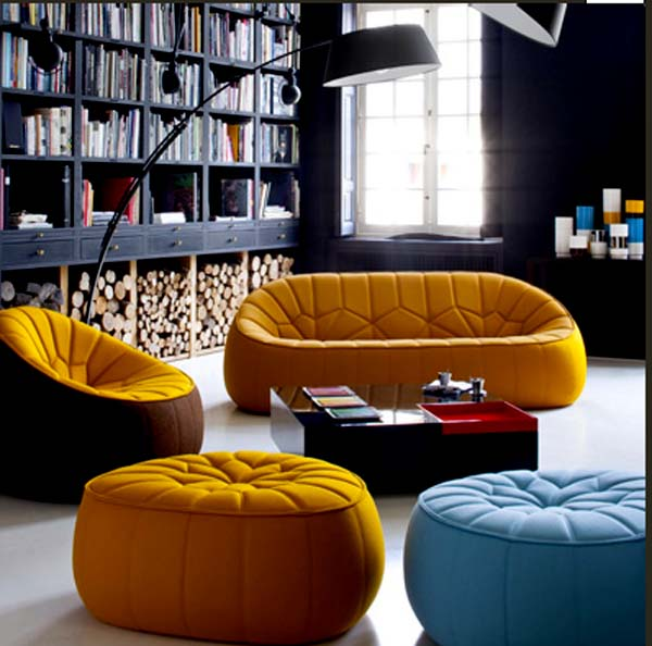 cute ottoman armchair by ligne roset. Black Bedroom Furniture Sets. Home Design Ideas