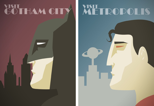 Dc Comics Superhero Travel Posters By Dave Ault
