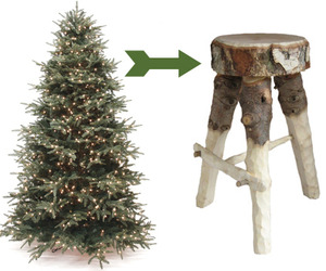 Discarded Christmas Trees Become Stools