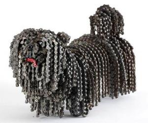 Dog Sculptures Out of Bicycle Chains | Nirit Levav