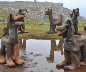 Dogs made from old rubber boots