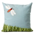 Dragonfly Aqua Pillow by Liora Manne