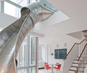 Duplex Apartment with a Helical Slide in New York City
