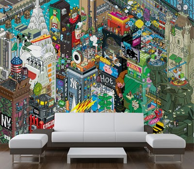 Eboy 39 s pixelated art available as wall murals wallpaper for Art mural wallpaper