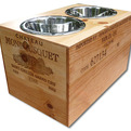 Elevated Pet Dishes made from Relcaimed Wine Crates