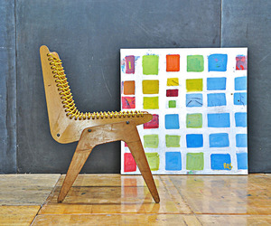 Exhibition Plywood and Cord Chair, Rodger Schultz Painting