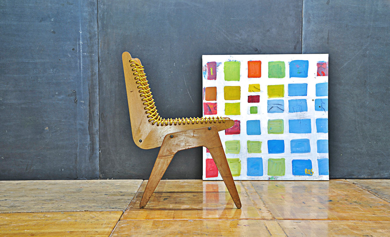 Exhibition Plywood And Cord Chair Rodger Schultz Painting