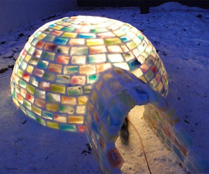 Family Builds Amazing Rainbow Igloo in Backyard