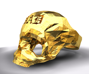 Fathers Day Skull Ring: Gold Plated 3D Printed and Cool
