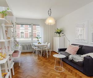 Feminine décor in Swedish apartment