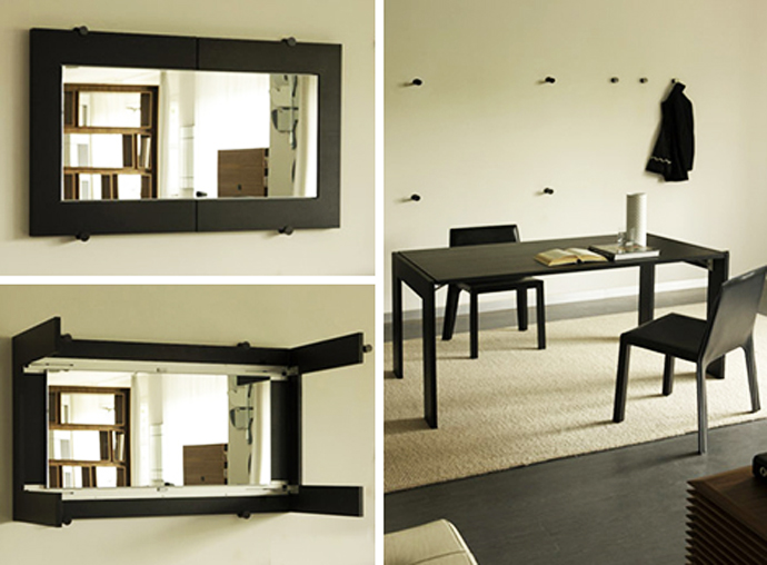 Folding Dining Table Turns into a Mirror by Porada