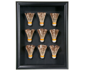 Framed Set of Nine Vintage Leather and Feather Shuttlecocks