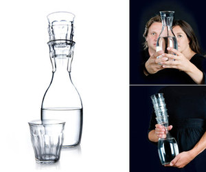 French Stacking Carafe with glass set