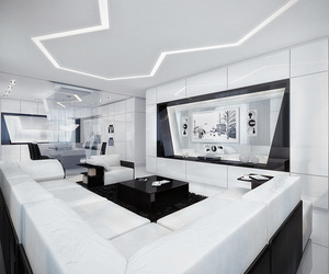 Futuristic Black and White Apartment by Geometrix