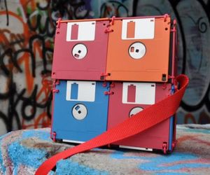 Geeky Floppy Disk Bags by Roxanne Gibson