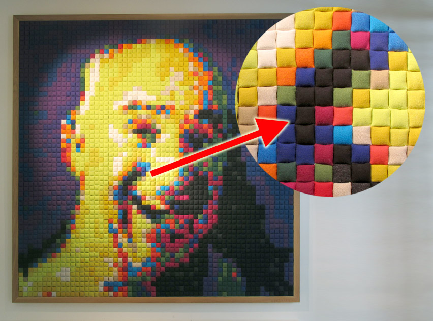 Giant Pixel Portraits Made Of Kvadrat Fabric