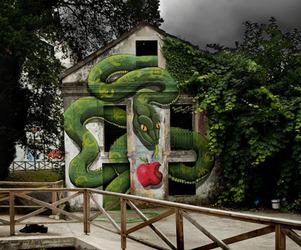 Gigantic Snake Mural by Sokram