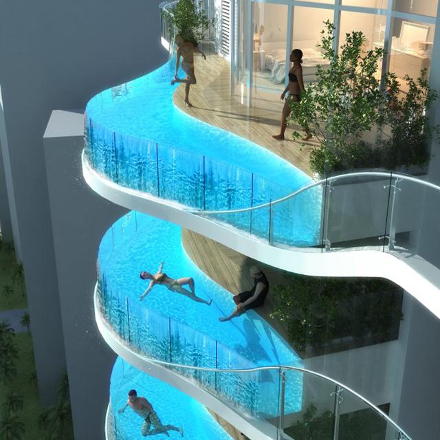 Glass balcony pools at aquaria grande tower - Swimming pool construction jobs dubai ...
