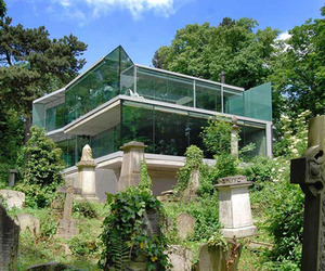 Glass home perched on the edge of a historic cemetery