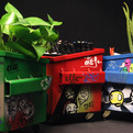 Graffiti Decorated Desktop Dumpsters