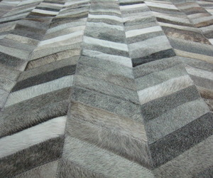 Grey Chevron Cowhide Patchwork Rug - Made to Order!