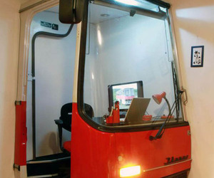 Half of Old Hungarian Ikarus Bus Becomes an Office