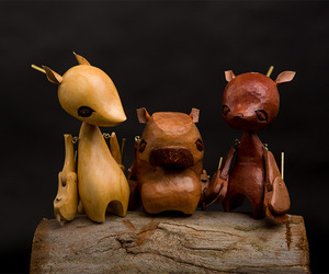 Hand Carved Wooden Puppets By Wez Champion.