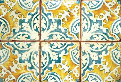 HandPainted Terra Cotta Tile from Urban Archeology