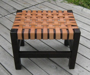 Handcrafted Woven Leather and Wood Frame Ottoman