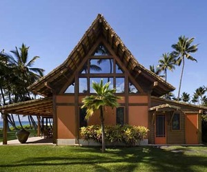 Hawaiian Longhouse with Thatched Roof Located in Hawaii