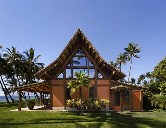 Hawaiian longhouse with thatched roof located in hawaii for How much to build a house in hawaii