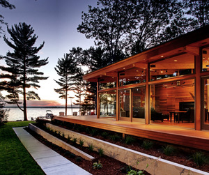 Higgins Lake House at Dusk by Jeff Jordan Architects